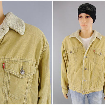 1990s Vintage / LEVI'S Sherpa Lined Corduroy Jacket / Tan Trucker Jacket / Size Large / 44 - 46 / Button Front / Slash Pockets / 70520
