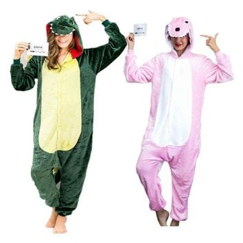 Dinosaur Onesuit Adult Pajamas Sleepwear Cosplay Halloween Costumes Animal Dino Onsie for Women Men Green Pink Sleepsuit