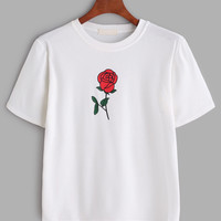Rose Print T-shirt -SheIn(Sheinside)