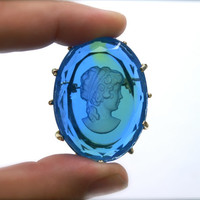 Vintage Blue Glass Cameo Brooch Intaglio