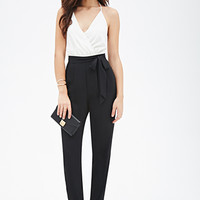 FOREVER 21 Surplice Halter Jumpsuit Cream/Black