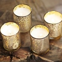 FILLED MERCURY GLASS CANDLES, SET OF 6