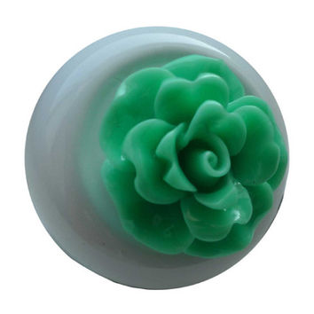 SpokeNWheel Flower Cabochon Bicycle Bell Teal