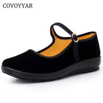 COVOYYAR 2018 Mary Janes Lady Flats Buckle Strap Comfort Women Shoes Round Toe Solid Casual Black Shoes Size 34~41 WFS508