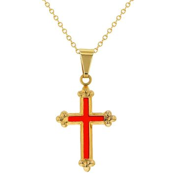 """14k Gold Plated Small Red Cross Pendant Necklace Childrens 16"""""""
