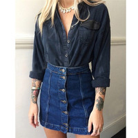High Quality 2016 Summer New Arrival Denim Skirts Women Pencil Jeans Front Button Package Hip Skirt de festa for Women Ladies