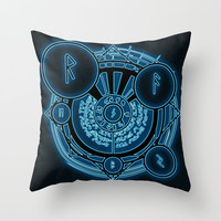 Runic Throw Pillow by Moonlit Emporium