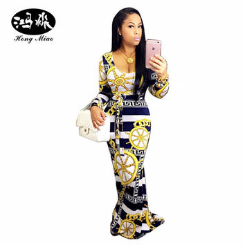 63badd47fc7 2017 New Arrivals Autumn long Dress Casual Long Sleeve Bodycon Dashiki  Dress Women elegant African vintage