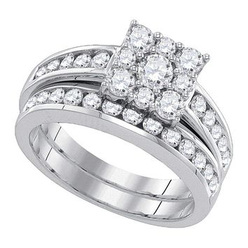 14kt White Gold Women's Round Diamond Halo Bridal Wedding Engagement Ring Band Set 1-1/2 Cttw - FREE Shipping (US/CAN)