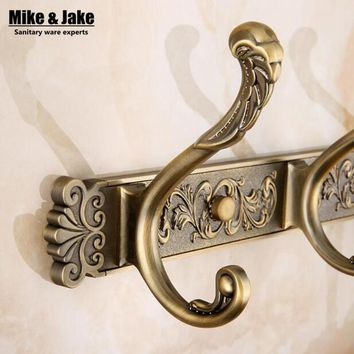 Free Shipping Bathroom wall Carving Antique robe hooks 4-6 Row Hook coat hanger door hooks for bathroom accessories
