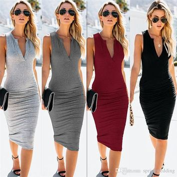Sexy Women Slim Fit Bodycon Casual Dresses 2019 Sleeveless Sheath V Neck Knee Length Femme Club Cocktail Wears FS5175