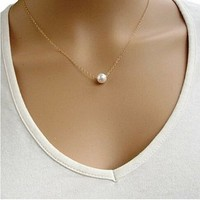 US-Lady Women's Vogue Street Style Simple Sweet Pearl endant Short Alloy Necklace