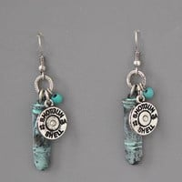 Turquoise Bullet Charm Shotgun Earrings