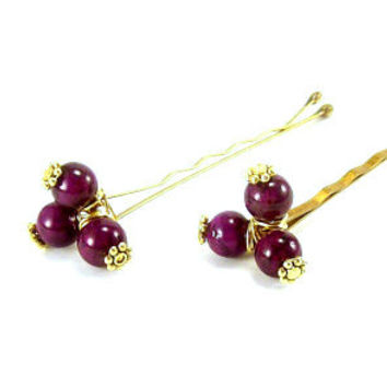 Beaded Hair Pins~ Plum Stones Gold Pewter Rustic Anytime Wear Hair Pins, Bridal Hair Pins~ Hair Accessories~ Handmade Gemstone Hair Pins