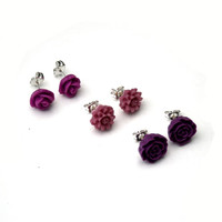 Purple Flower Earrings, Flower Stud Earrings, Set Of Three