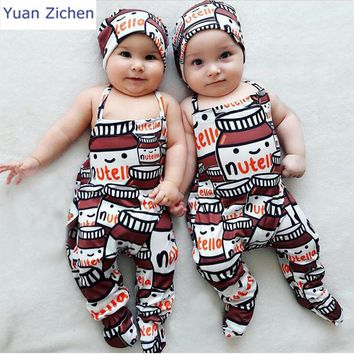 New Children's Clothing Baby Footies Suits Hat 2pcs Baby Girl Clothes Animal Cotton Newborn Footies Baby Clothes For Girl