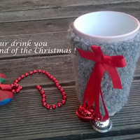 Cup Cozy/ Jingle Bell Cozy Cup/ Knitted Mug Cozy/ Coffee Cozy/ Tea Cup Cozy/ Christmas Jingle Bell/ Christmas Gift/ Cup Cozies