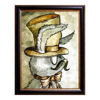 Moustached Steampunk Rabbit water color print on fine art giclee sepia brown and grey painting