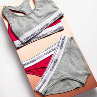 """Calvin Klein""Ms sports bra cotton Triangle suit non-trace bra Grey"