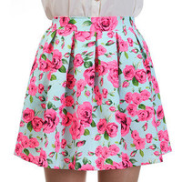 Beautiful Floral Flower Pleated Full Flare Flippy Skater Mini Short Skirt