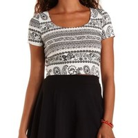 Black Combo Paisley Print Bar-Back Cropped Tee by Charlotte Russe