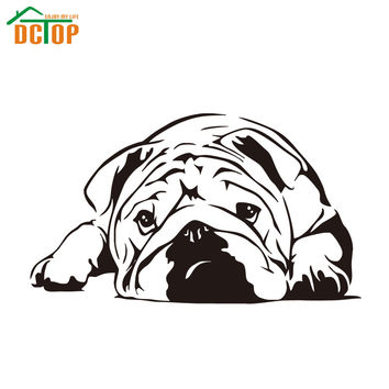 DCTOP Dog Vinyl Art Wall Decals Living Room Home Decor Lazy Bulldog Wall Sticker Nursery Hot Sale