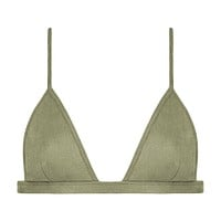 Olive Faux Suede Hunter Triangle Bikini Top