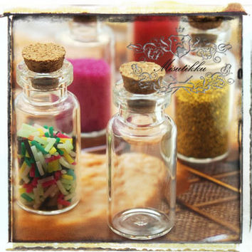 Lot of 20 PCS (36mm x 16mm) 2ml Small Empty Glass Vials Jars Bottles Containers w Corks & Screw Eye Pins - Diy Charm Accessories (SP.L36)