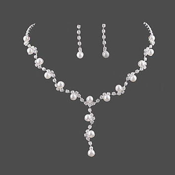 Y Drop Necklace Bridal Pearl and Rhinestone Bridesmaid Jewelry Affordable