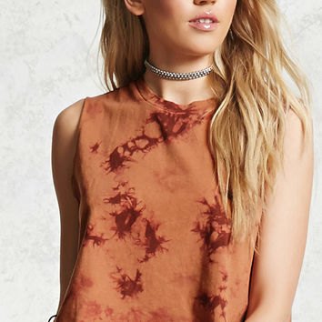 Crystal Dye Cropped Muscle Tee