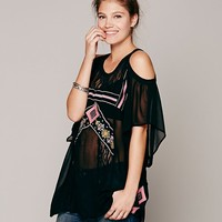 FP New Romantics Embroidered Open Shoulder Tunic