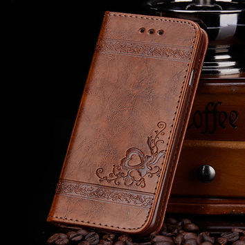 Leather Flip Wallet Case for Samsung Galaxy S5 S6 S7 edge iPhone 5s 6 6s PU Leather Floral Mobile Phone Bags Case