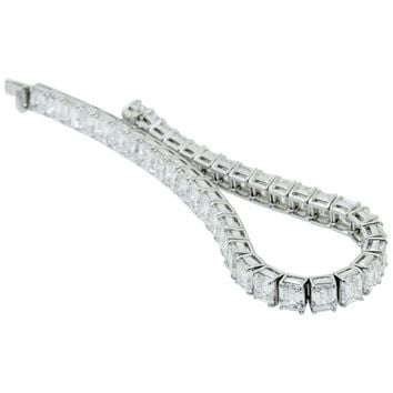 Harry Winston Emerald Cut Diamond Platinum Line Bracelet