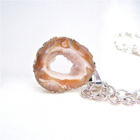 Silver plated occo geode pendant necklace - agate druzi necklace - agate necklace by Sparkle City Jewelry