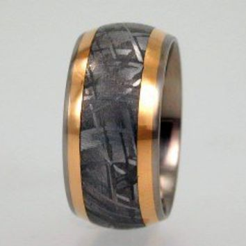 2.  Wedding Band with Meteorite and 18K Yellow Gold Inlay - Titanium Ring For Men and Women