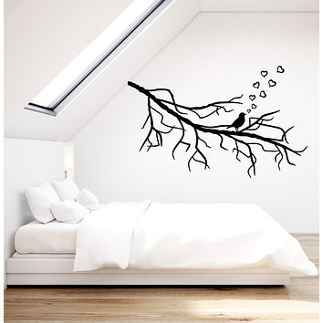 Vinyl Wall Decal Bird Branch Heart Love Romantic Bedroom Stickers Mural (g933)