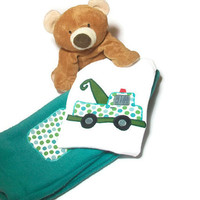 Baby Boy Outfit - Boy Bodysuit Set -  Baby Tow Truck- Baby Winter Clothes,   Peapodlilfrogs