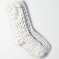 AEO Plush Cable Knit Crew Socks , Medium Heather