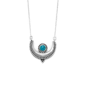 Sterling Silver Turquoise Crescent Pendant Necklace