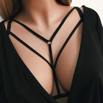 Woweile#5001  Women Sexy Fashion Ladies Halter Elastic Cage Sexy Strappy Bra Bustier  For Women