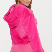 Bright Pink Cropped Faux Fur Jacket With Hood