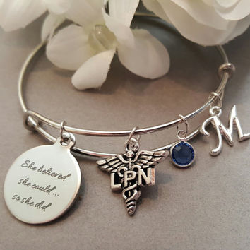 DH Gift, Dental Assistant, Medical Assistant, RN Bracelet, Dentist Graduation Gift, Dentist Bangle, DH Gift, Dental School Graduation Gifts