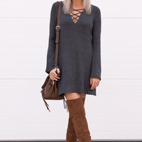 Liana Grey Lace Up Long Sleeve Dress