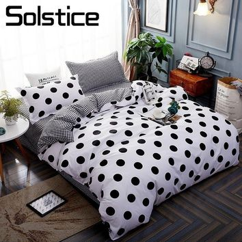 Cool Solstice Home Textile Stripe Dot Bedding Set Kid Boy Teen Bed Linen 3/4Pcs Duvet Cover Pillowcase Bed Sheet King Queen Full SizeAT_93_12