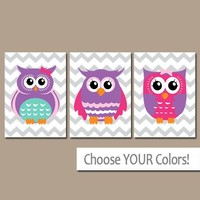 Girl OWL Nursery Art, Owl Nursery Wall Art, Canvas or Prints, Baby Girl Owl Nursery Decor, Owl Bedroom Pictures, Set of 3, Birthday Pictures
