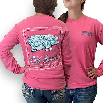 Old South Babe Paisley Pig Comfort Colors Long Sleeve T-Shirt