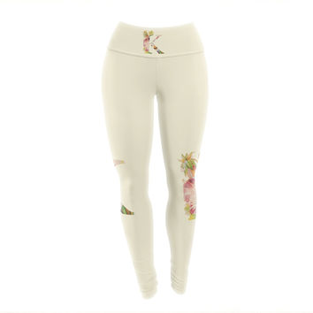 "KESS Original ""Floral Monogram"" Yoga Leggings"
