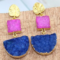 Gorgeous Pink & Blue Natural Agate Druzy 24k Gold Electroplated Earring Jewelry