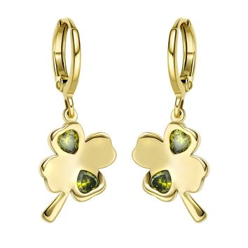Cute Four Leaf Clover Lucky Charm Gold-Tone Positive Energy Olive Green Crystal Amulet Earrings