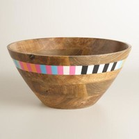 Striped Wood Salad Bowl